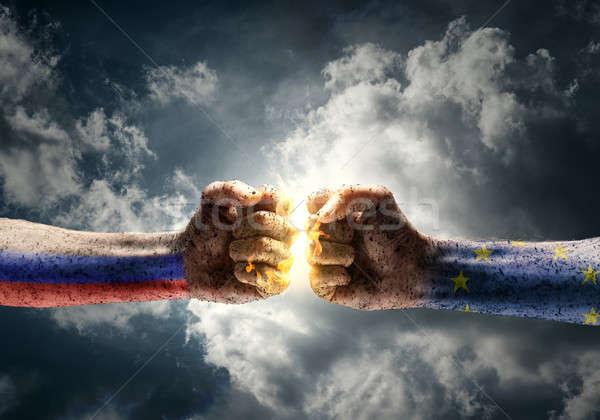 Conflict twee ander dramatisch hemel Stockfoto © adam121