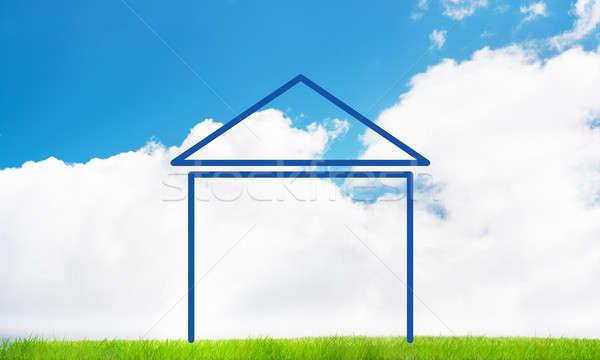 Casa cielo panorama figura immobiliari simbolo Foto d'archivio © adam121