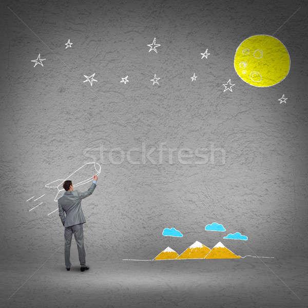 Repülés rakéta hátsó nézet üzletember rajz fal Stock fotó © adam121