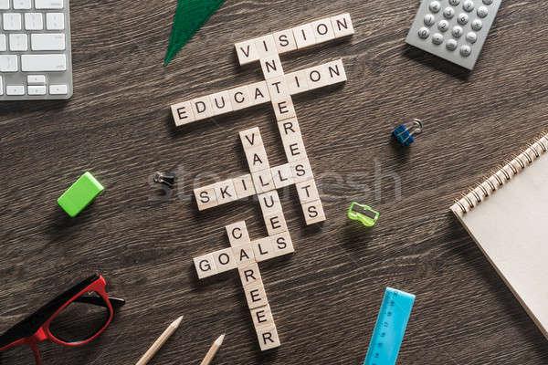 Business Tabelle Elemente Spiel Kreuzworträtsel Stock foto © adam121
