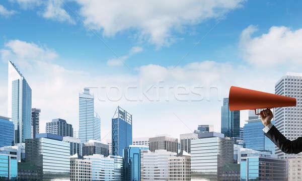 手 女性実業家 赤 紙 トランペット ストックフォト © adam121