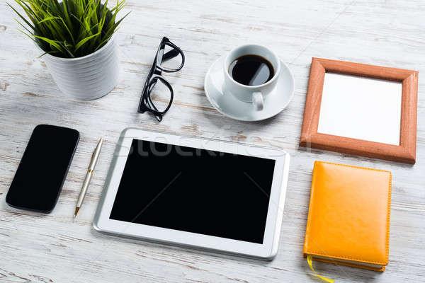 Сток-фото: бизнеса · натюрморт · фото · таблетка · блокнот · кофе