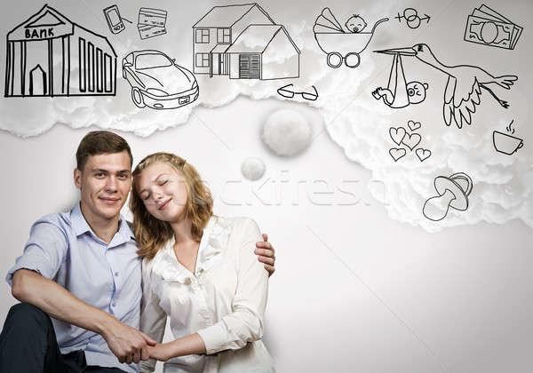 Fiatal boldog pár boldog család álmodik jövő Stock fotó © adam121