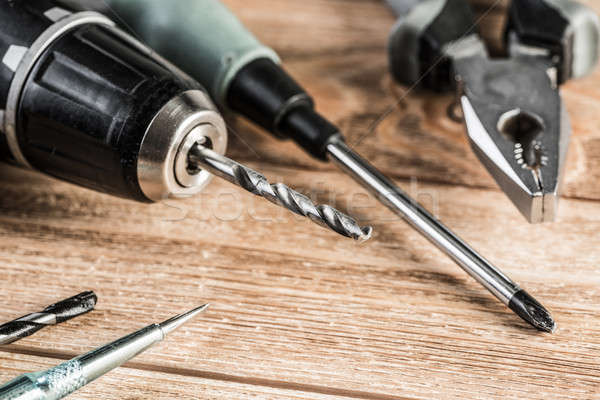Carpentry tools on wooden surface Stock photo © adam121