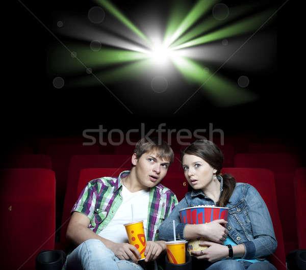 Coppia cinema film teatro guardare luce Foto d'archivio © adam121
