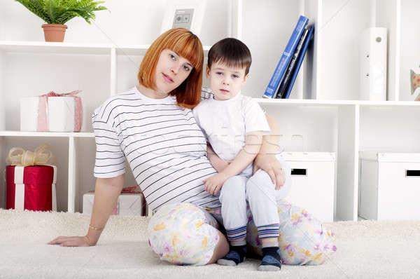 Anya baba lakberendezés portré terhes nő fiú Stock fotó © adam121