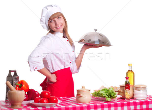 Attractive cook woman a over white background Stock photo © adam121