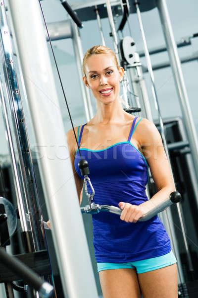 Mulher jovem ginásio viver vida saudável homem Foto stock © adam121