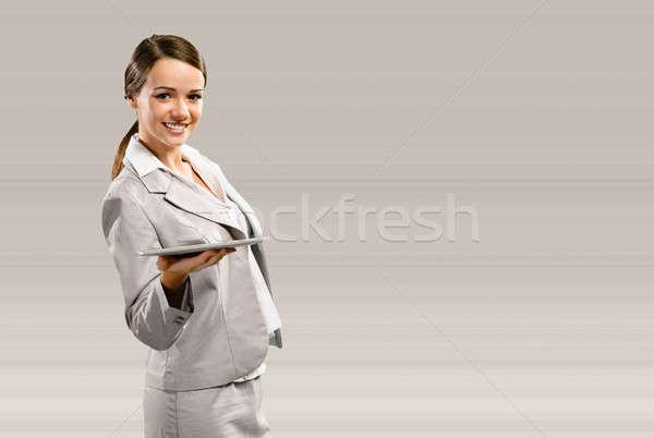 Business woman halten Touchpad Stelle Text Business Stock foto © adam121