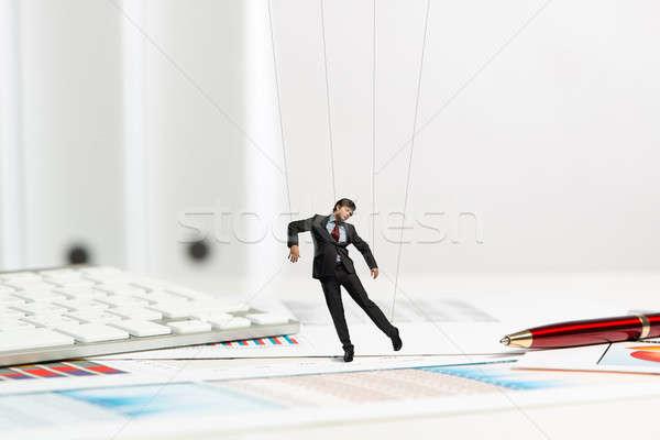 Empresário fantoche boneca secretária passado artigos de papelaria Foto stock © adam121