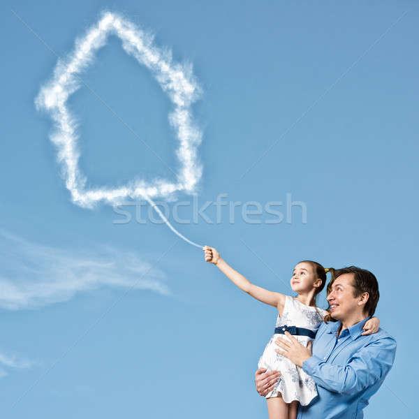 Boldog gyereknevelés apa aranyos lánygyermek kezek Stock fotó © adam121