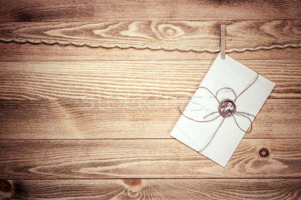 メール 封筒 ロープ 絞首刑 木製 テクスチャ ストックフォト © adam121