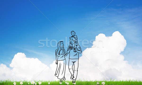 Boldog együtt kézzel rajzolt fiatal boldog család lezser Stock fotó © adam121