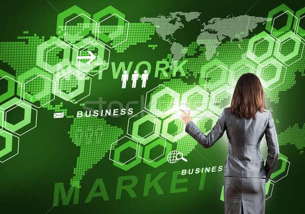 Innovador vista posterior mujer de negocios de trabajo digital Foto stock © adam121