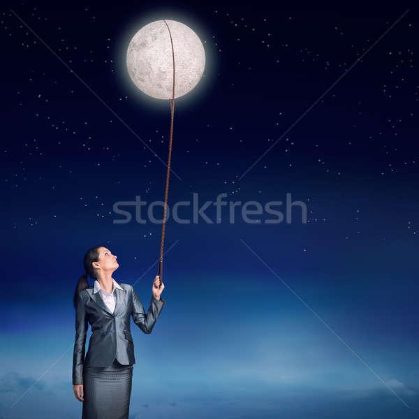 Woman catch moon Stock photo © adam121