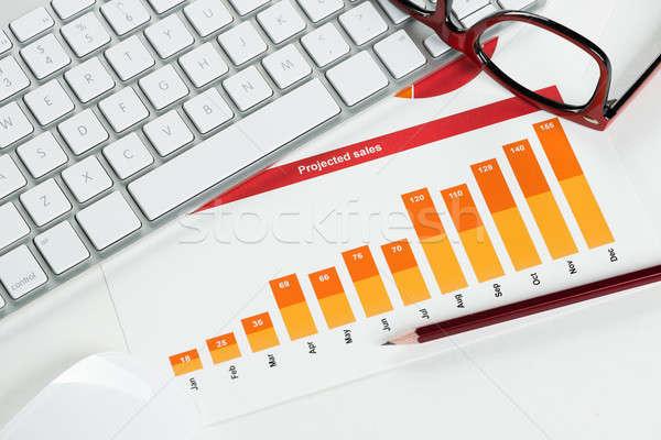 Gemiddelde verkoop verslag business werkplek toetsenbord Stockfoto © adam121
