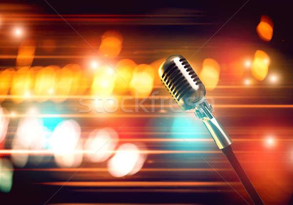 Mikrofon sahne konser salon bulanık Stok fotoğraf © adam121