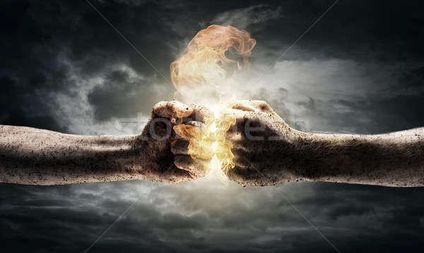 Konflikt dwa inny dramatyczny niebo Zdjęcia stock © adam121