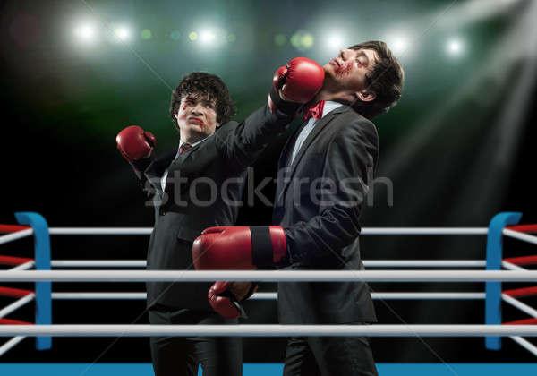 Działalności dwa biznesmen rękawice bokserskie pierścień Zdjęcia stock © adam121