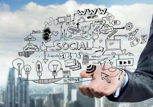 Plano eletrônico negócio fechar ver empresário Foto stock © adam121