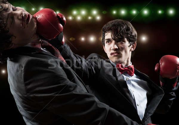 Negocios competidores dos empresario guantes de boxeo anillo Foto stock © adam121