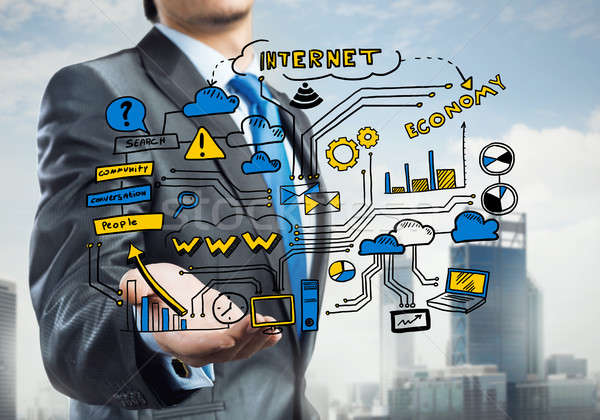 Plan elektronische business sluiten zakenman Stockfoto © adam121