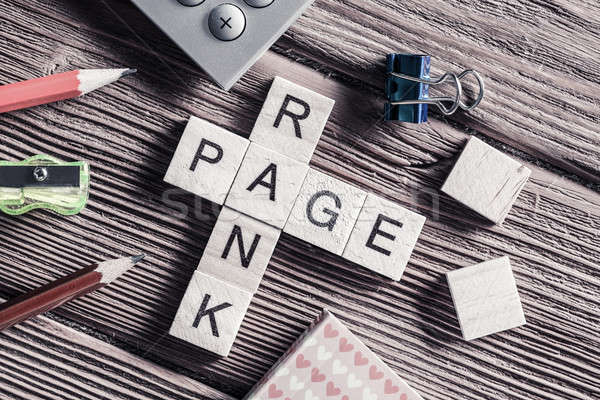 Stock photo: Conceptual media keywords on table with elements of game making