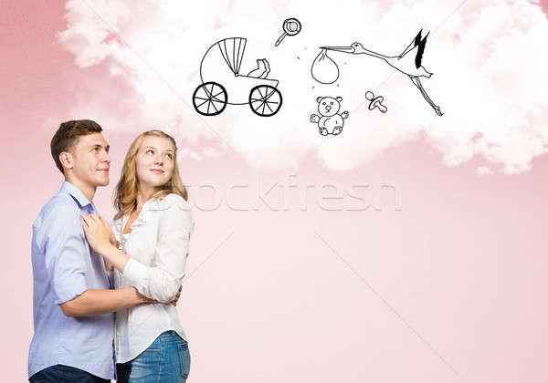 Stock fotó: Fiatal · boldog · pár · boldog · család · álmodik · jövő
