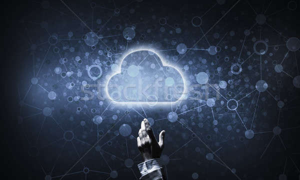 Technologie idee cloud icoon aanraken hand Stockfoto © adam121