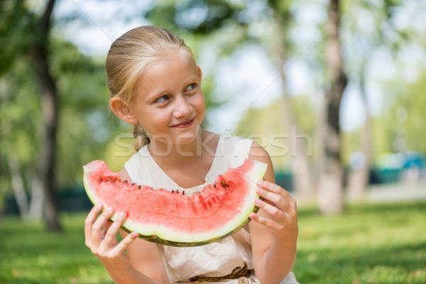 Foto stock: Criança · melancia · fatia · bonitinho · menina · sessão