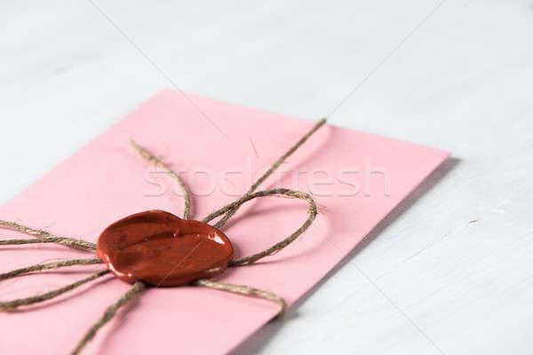 Carta sello mesa rosa dotación cera Foto stock © adam121