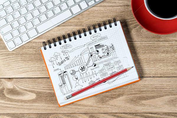 ビジネス 職場 帳 アイデア コーヒーカップ キーボード ストックフォト © adam121