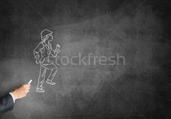 Caricatura builder donna maschio mano disegno Foto d'archivio © adam121