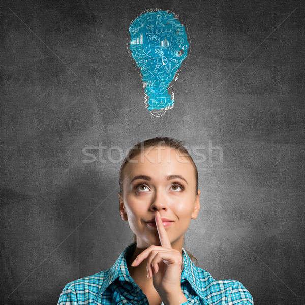 Girl showing hush gesture Stock photo © adam121