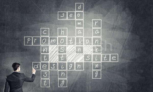 Seminar trainer draw on chalkboard Stock photo © adam121