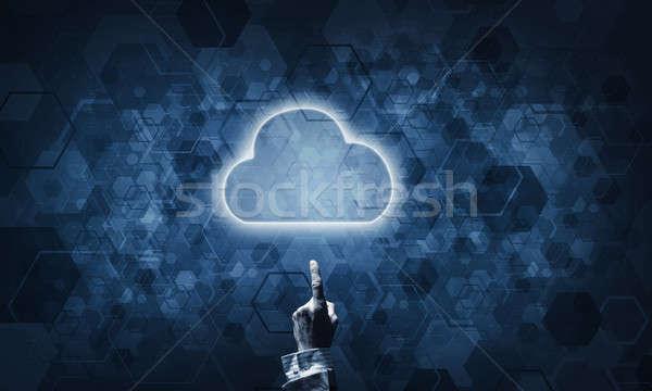 Technologii pomysł chmura icon dotknąć strony Zdjęcia stock © adam121
