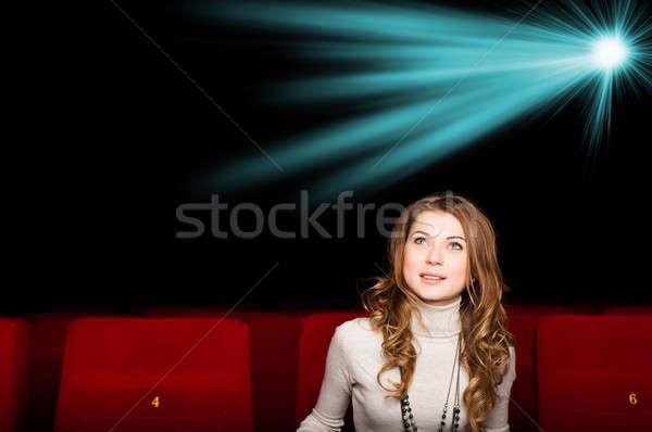 小さな 魅力のある女性 座って 映画 映画 ストックフォト © adam121