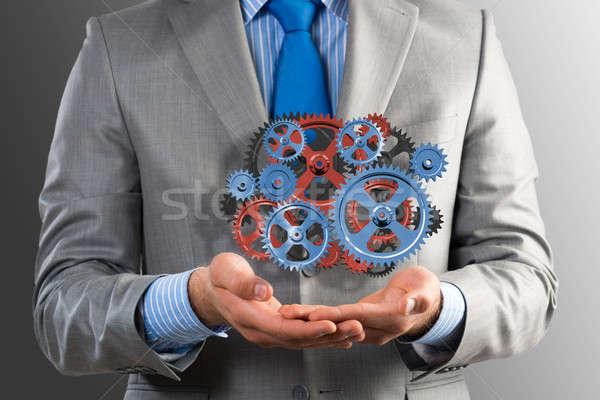 деловой человек вверх механизм передач готовый решения Сток-фото © adam121