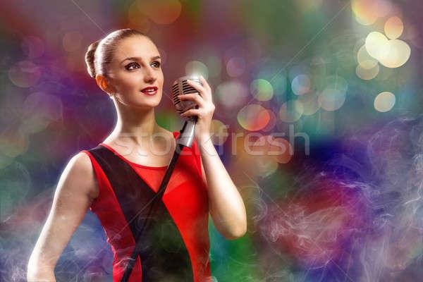 Привлекательная женщина певицы микрофона за аннотация моде Сток-фото © adam121