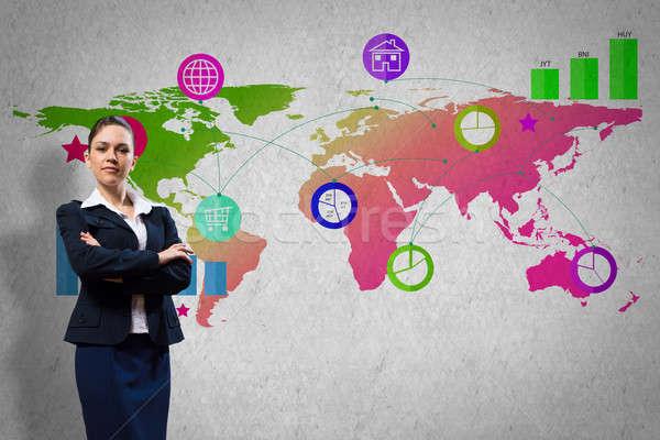 Interface presentatie zakenvrouw kleur toepassing iconen Stockfoto © adam121