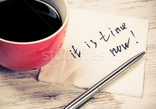Wiadomość napisany serwetka kubek kawy działalności Zdjęcia stock © adam121