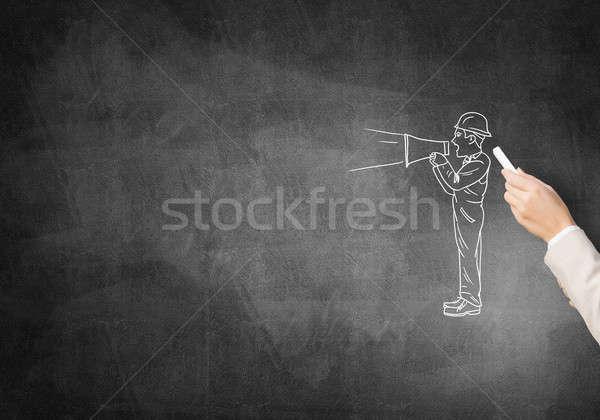 Inżynier człowiek mężczyzna strony kredy budowy Zdjęcia stock © adam121