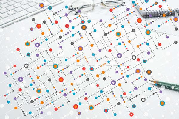 Kolorowy geometryczny tle streszczenie muzyka nauki Zdjęcia stock © adam121