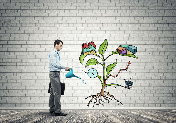 Young businessman in empty room watering drawn growth concept wi Stock photo © adam121