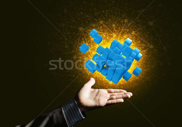 Stock photo: Idea of new technologies and integration presented by cube figure