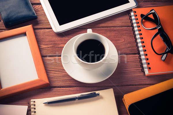 業務 靜物 照片 片劑 記事本 咖啡 商業照片 © adam121