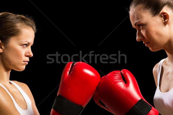 対決 二人の女性 2 女性 顔 ストックフォト © adam121