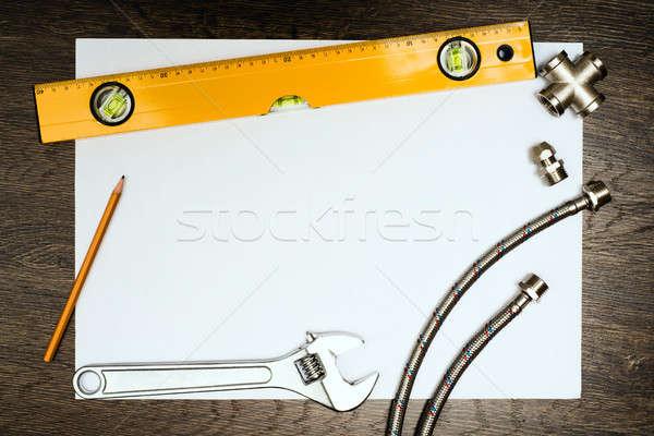 Csövek szerszámok fehér lap papír hely Stock fotó © adam121
