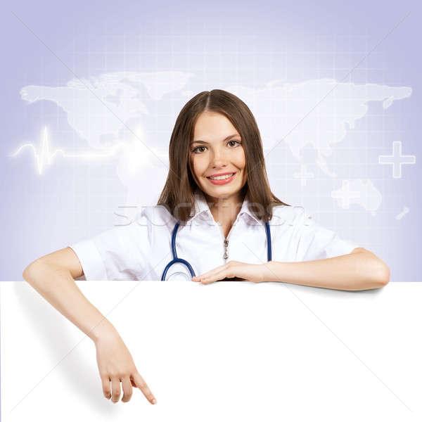 Médico banner jóvenes mujer atractiva manos Foto stock © adam121