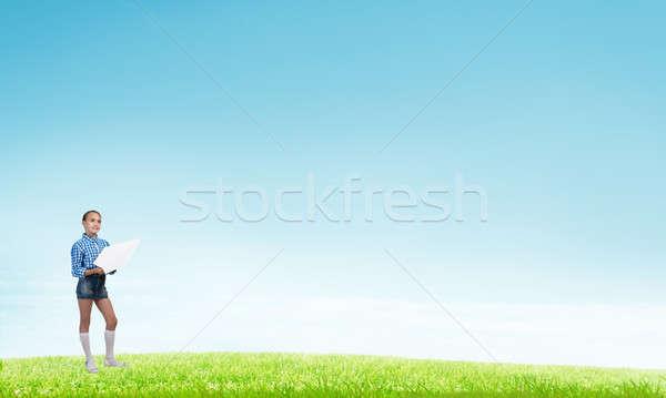 Mutlu dikkatsiz çocukluk çok güzel küçük kız Stok fotoğraf © adam121